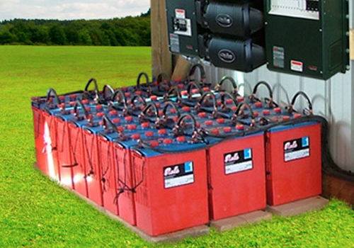 Battery bank for energy storage.