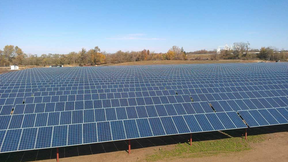 Rockford solar ground mount installation photo.