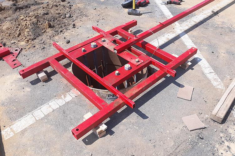 Foundation cage photo for solar carport.