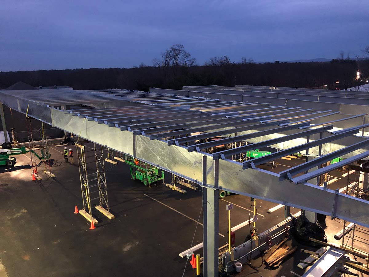 Solar parking canopy erected in East Windsor Connecticut