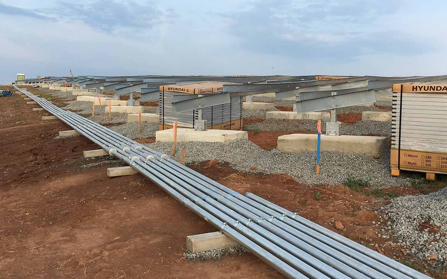 Electrical conduit installed on a solar landfill.