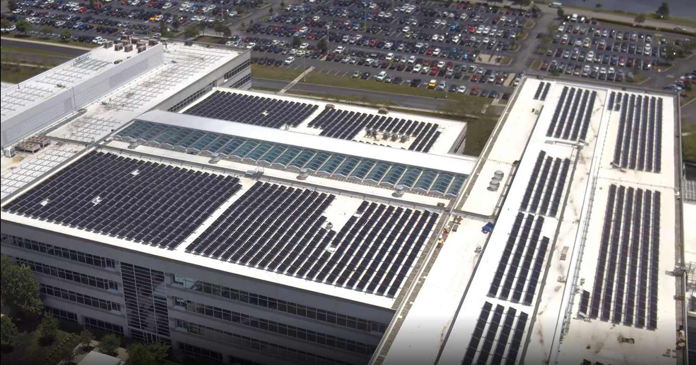 Solar roof mount photo of bi-facial solar panels.