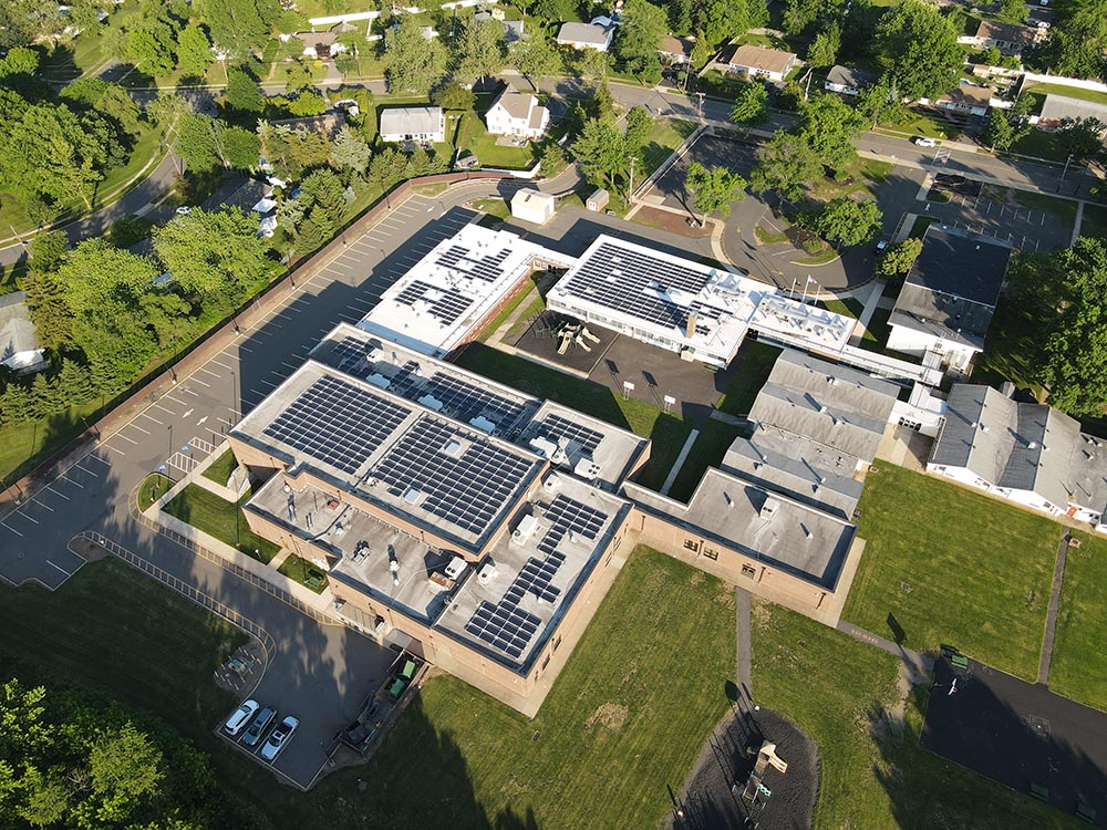Drone Picture showing the solar panels on Contsable elementary school