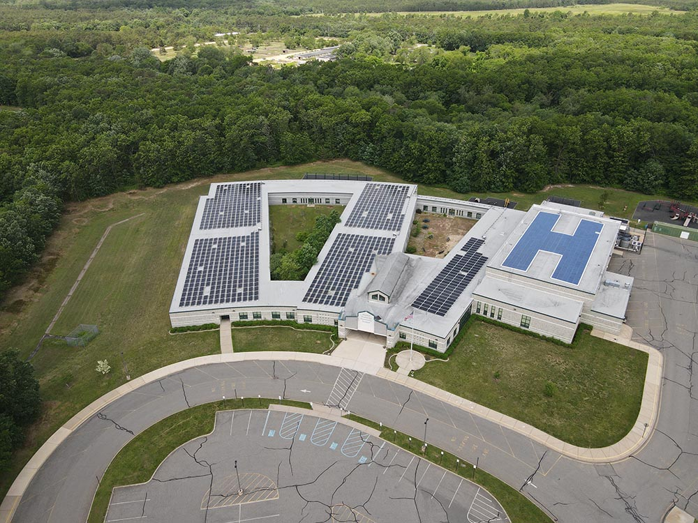 A view of Greenville schools roof mount solar