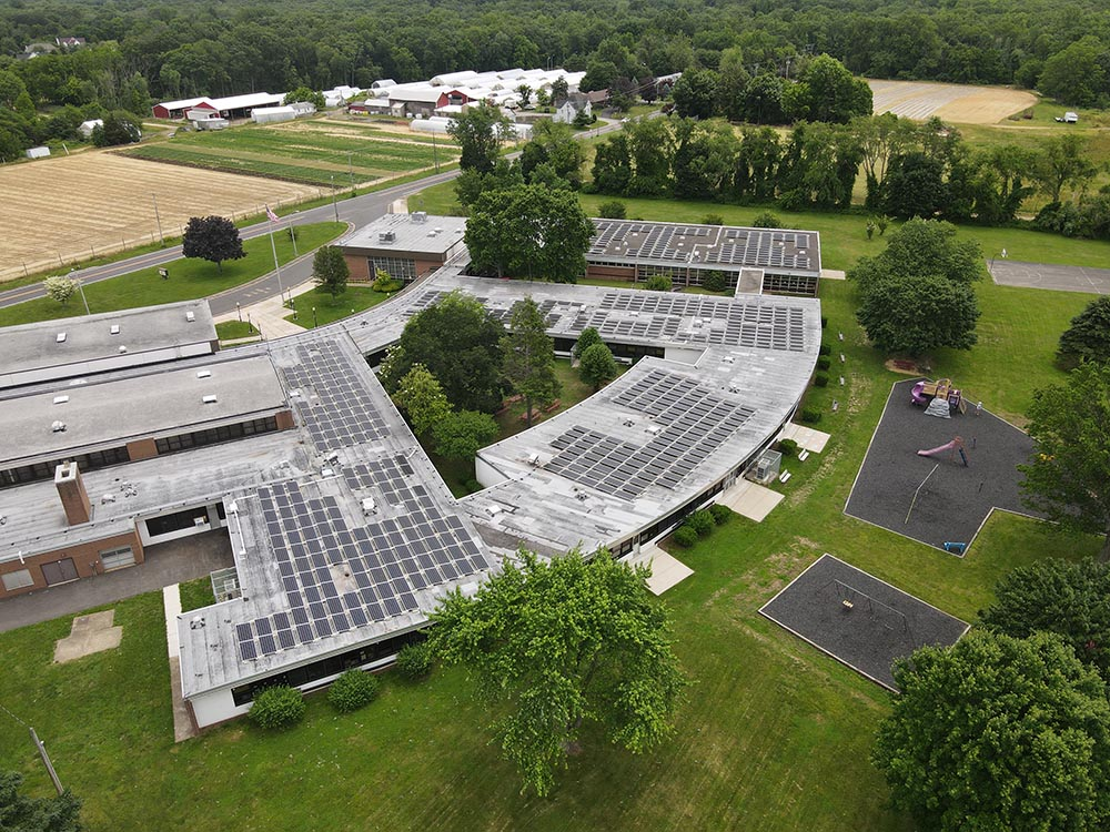 An image of a ballasted roof mount solar array