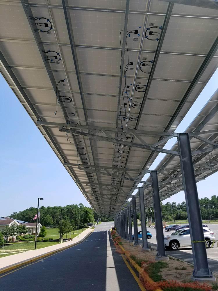 Solar canopy installed on Stafford schools, NJ.