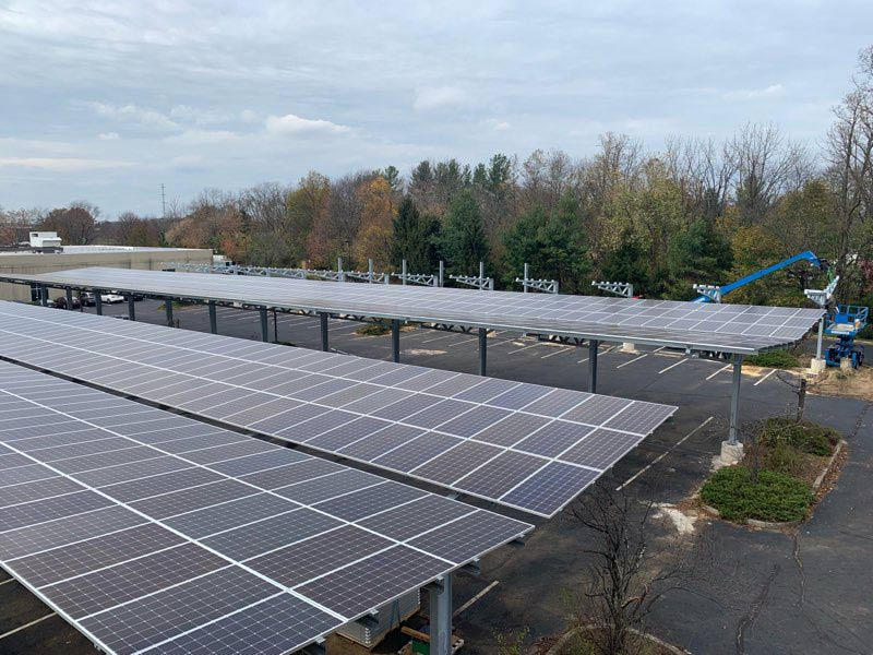 Solar parking canopy in New Jersey.