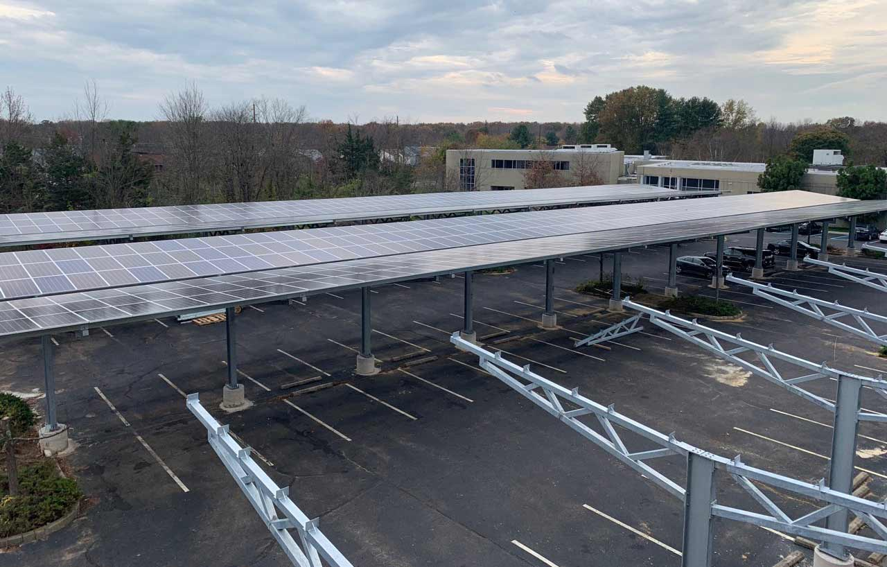 Realsoft office park solar canopy photo.
