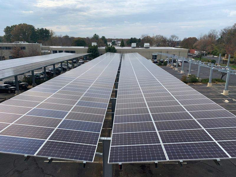 Solar carport photo from Monmouth Junction, NJ.