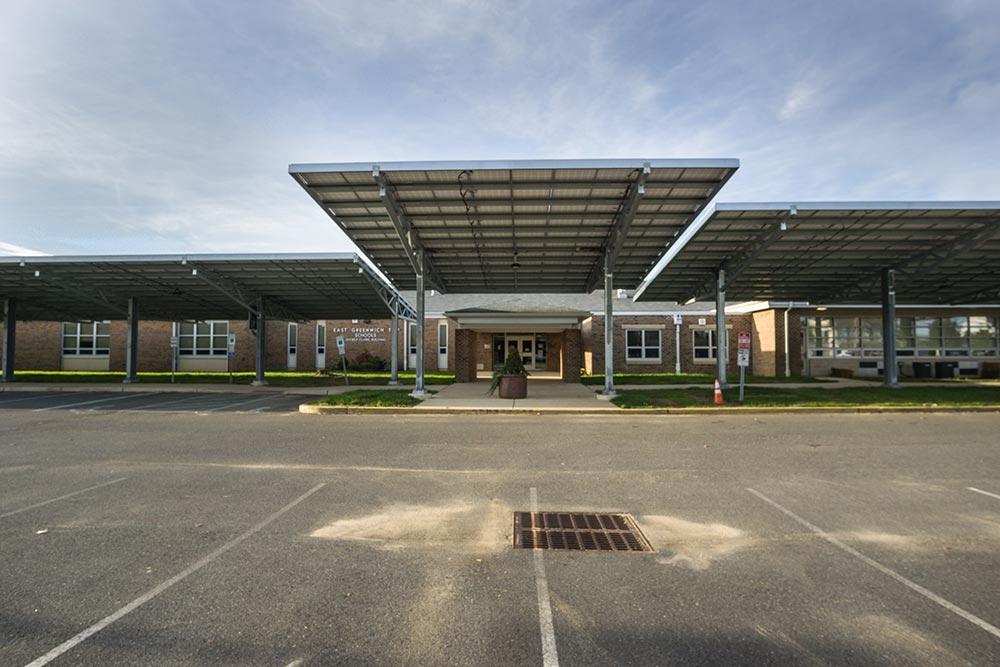 Clark school solar canopy entrance.