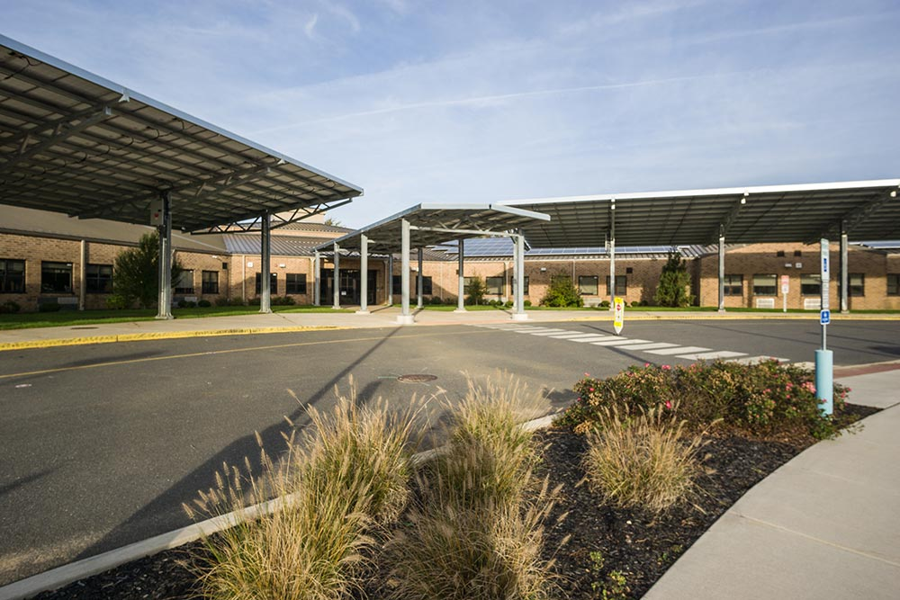 Solar carport installation on Mickle School, New Jersey.