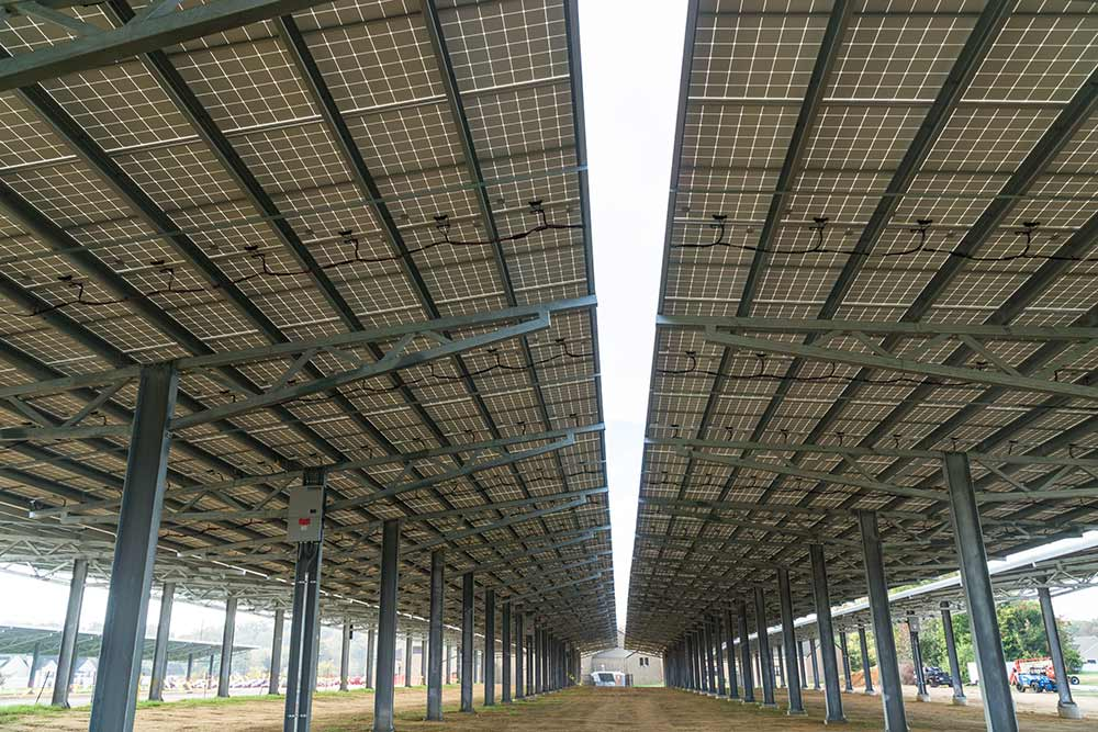 Giant solar canopy parking structure in East Greenwich, New Jersey.
