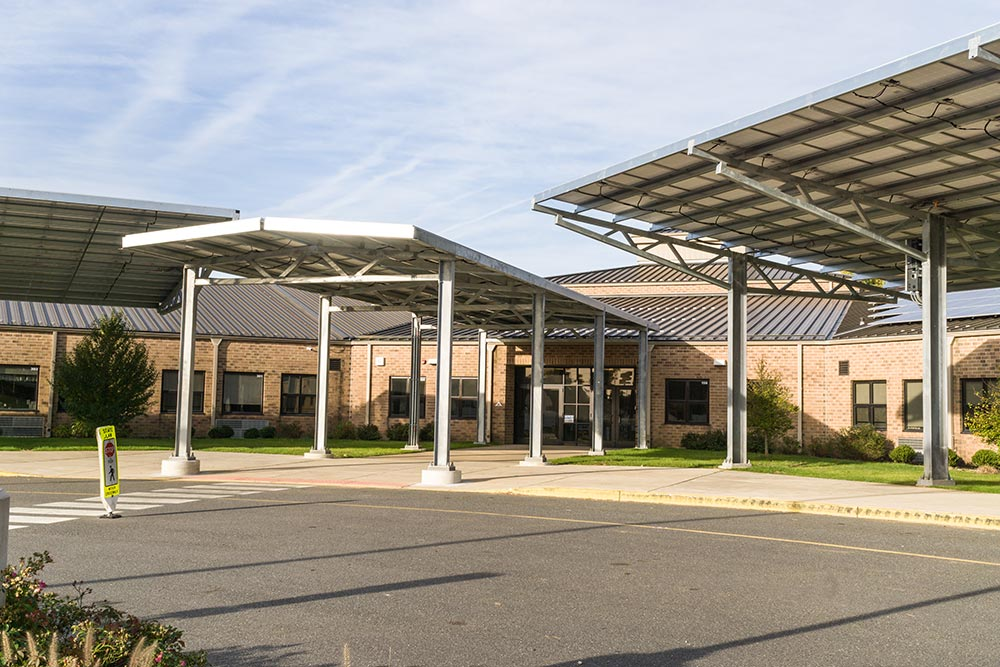 Solar carport structures in New Jersey.