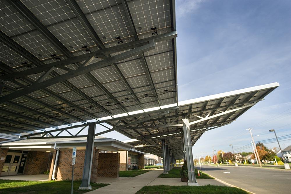 Solar carport installation photo.