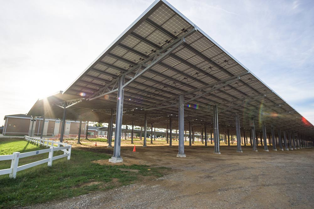 Solar parking structure photo.