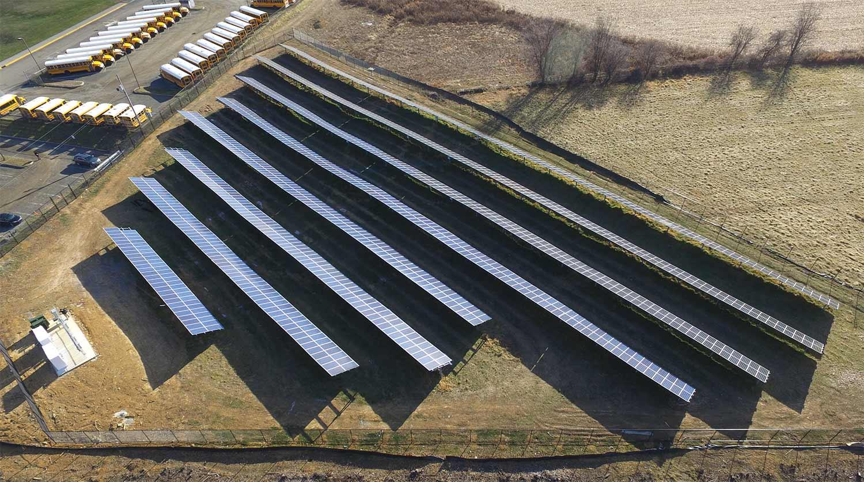 Long Valley school solar installation photo.