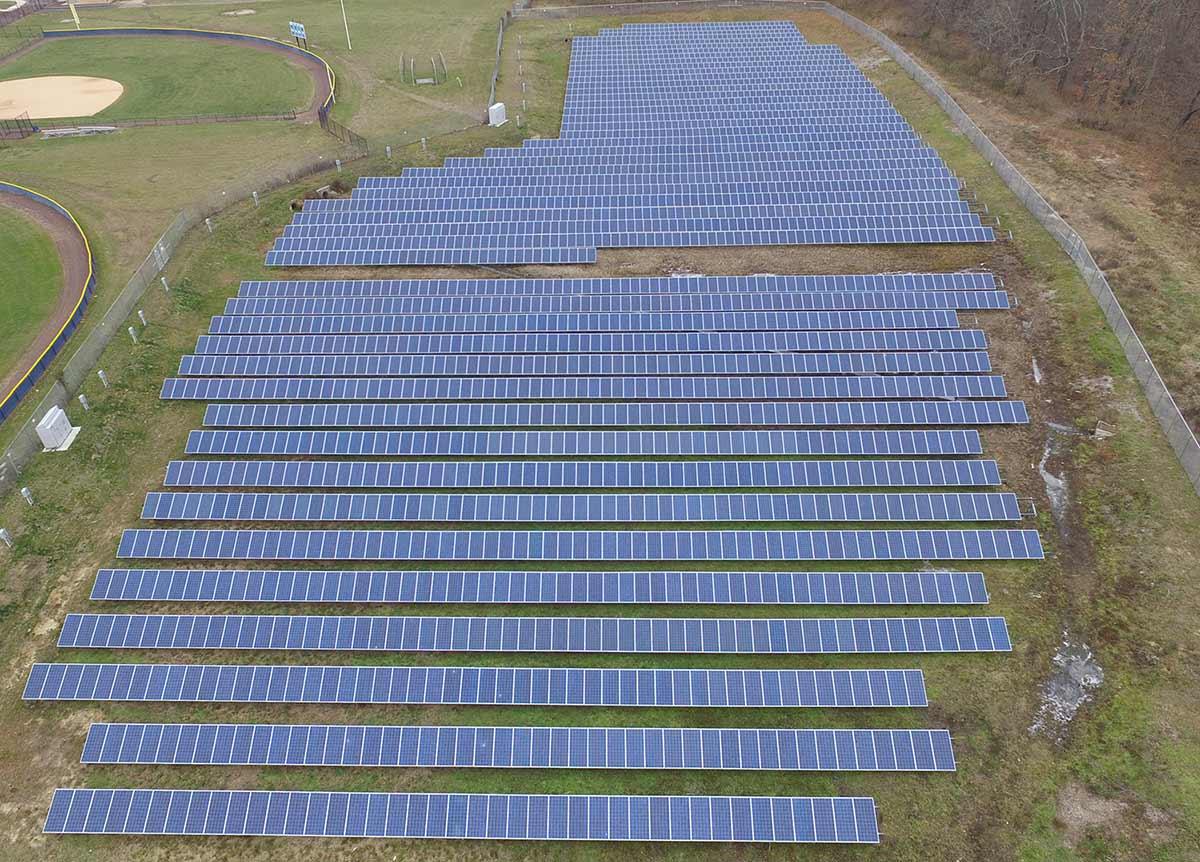 New Egypt high school solar panel array photo.
