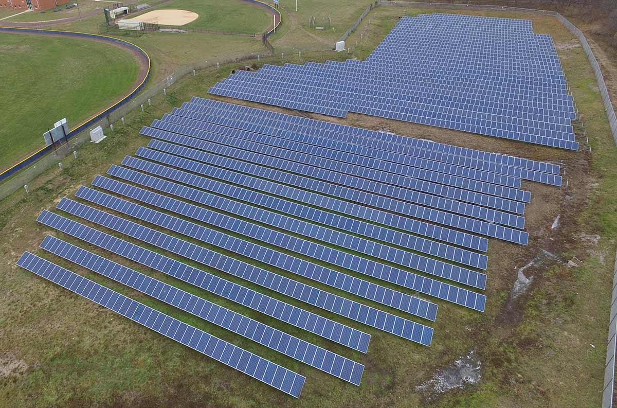 Solar ground mount array in Ocean county, NJ.