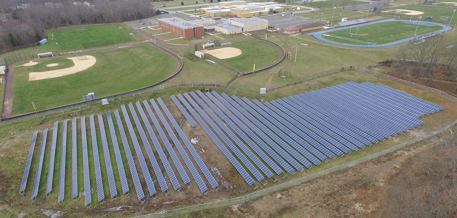 Aerial photo of post driven solar mount in Plumsted NJ.
