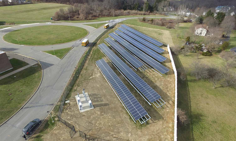 Flanders School solar racking photo.