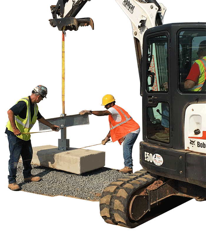Ballast block placement installation photo