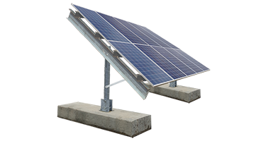 Ballasted ground mount image with solar panels mounted 2 high in portrait.