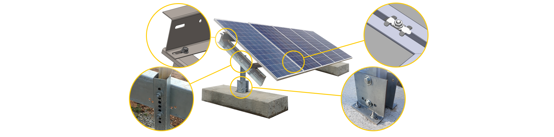 Ballasted solar ground mount with five panels mounted in portrait orientation.