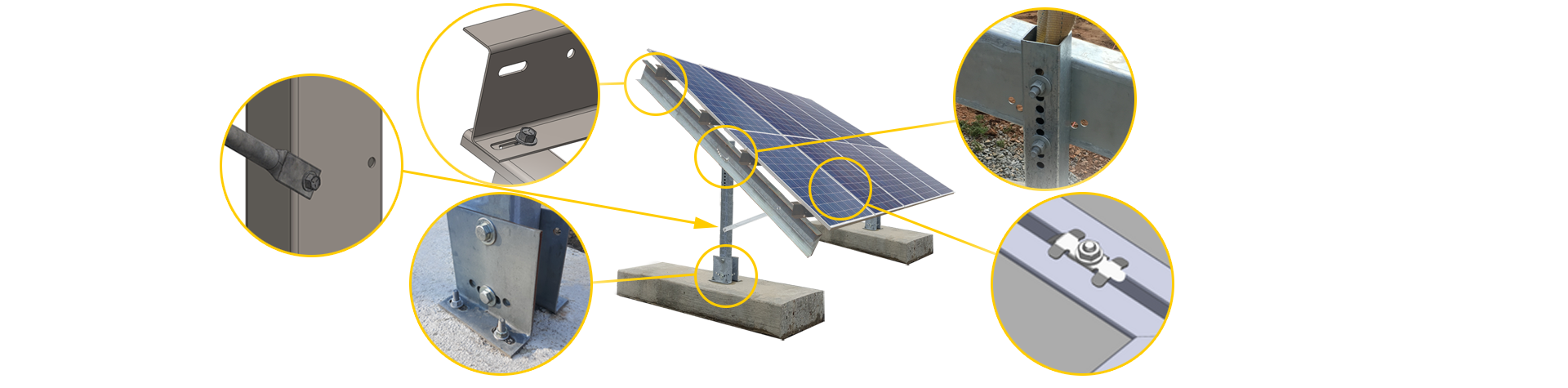 Ballasted ground mount image with ten solar panels mounted two high.