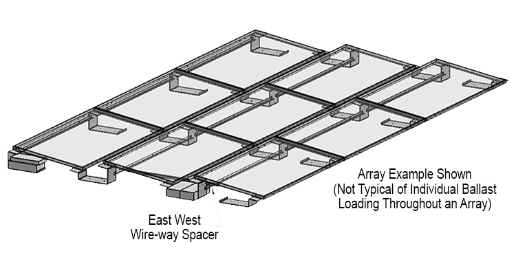 Ballasted solar roof mount array image.