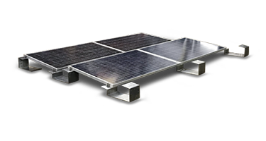 Ballasted roof mount image with four solar panels.
