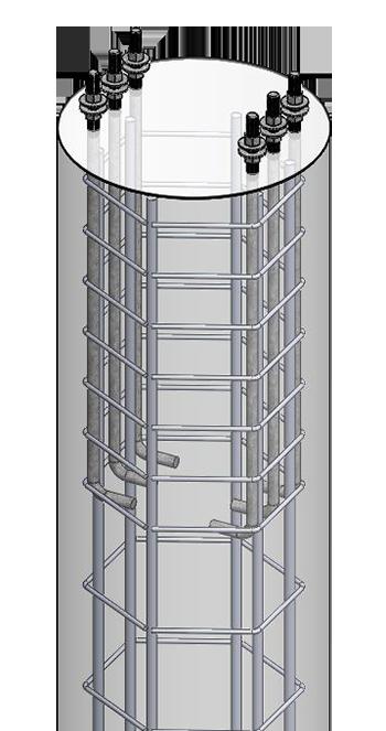 Foundation cage in concrete.