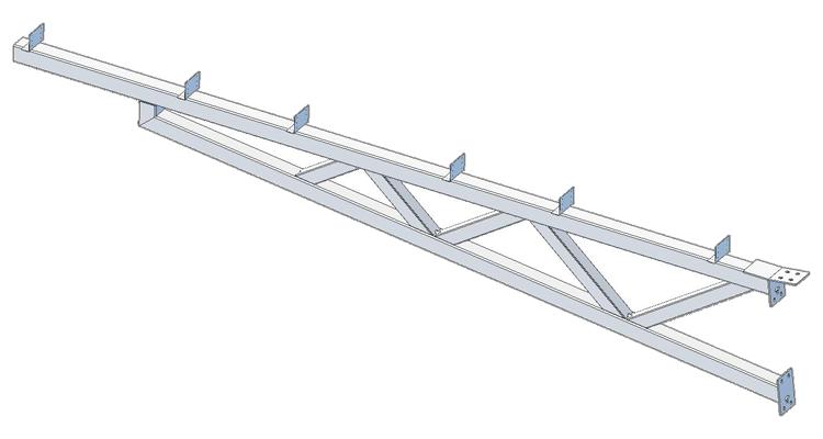 Truss component of solar carport.