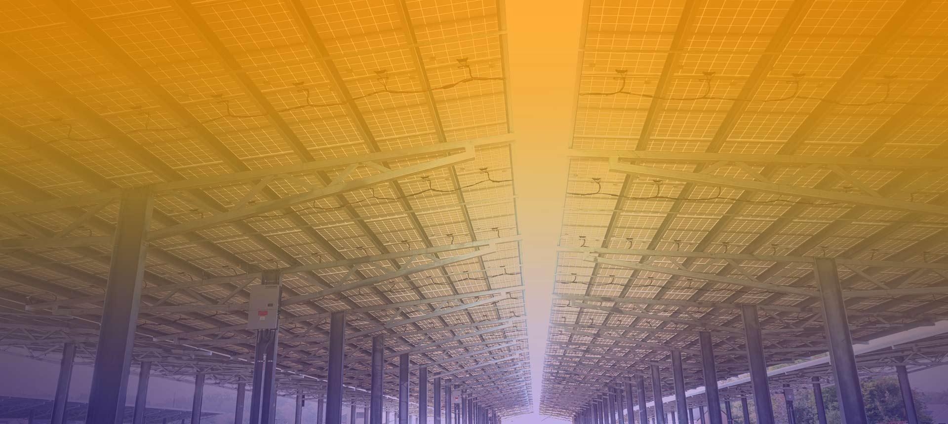 Solar carport installation photo of 1.7 Megawatt solar array completed in September of 2017